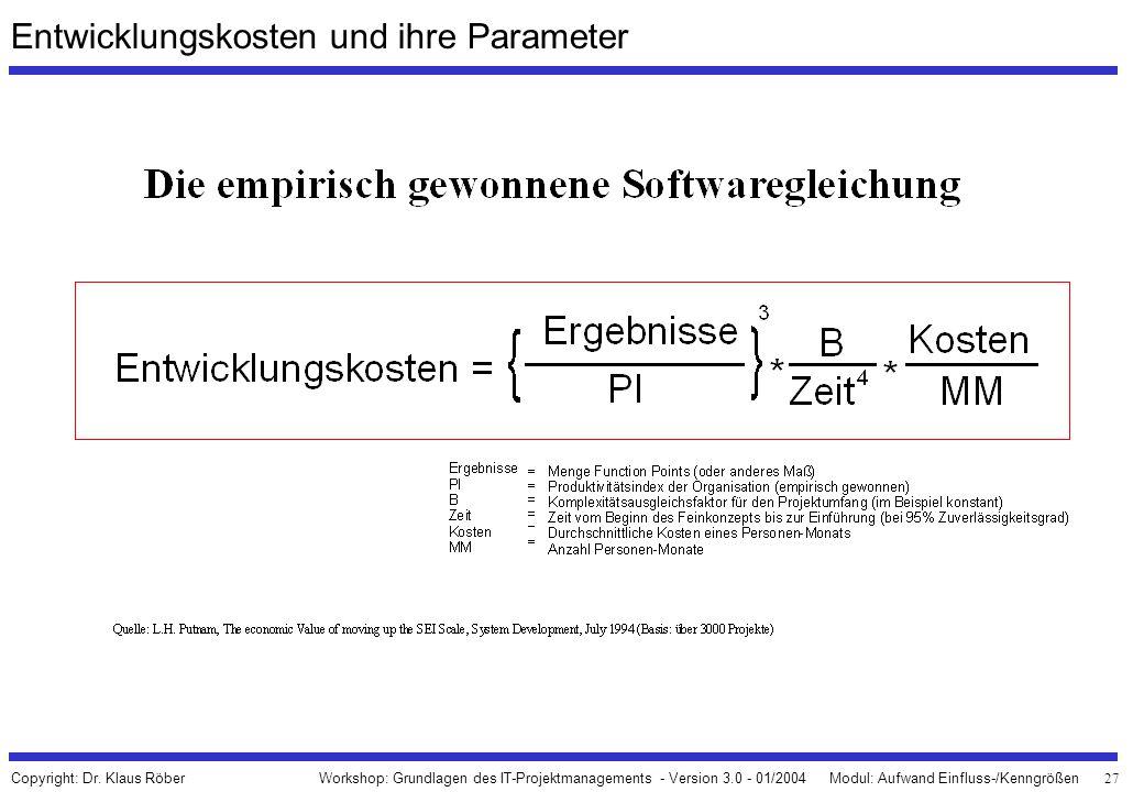 27 Workshop: Grundlagen des IT-Projektmanagements - Version 3.0 - 01/2004Modul: Aufwand Einfluss-/Kenngrößen Copyright: Dr. Klaus Röber Entwicklungsko