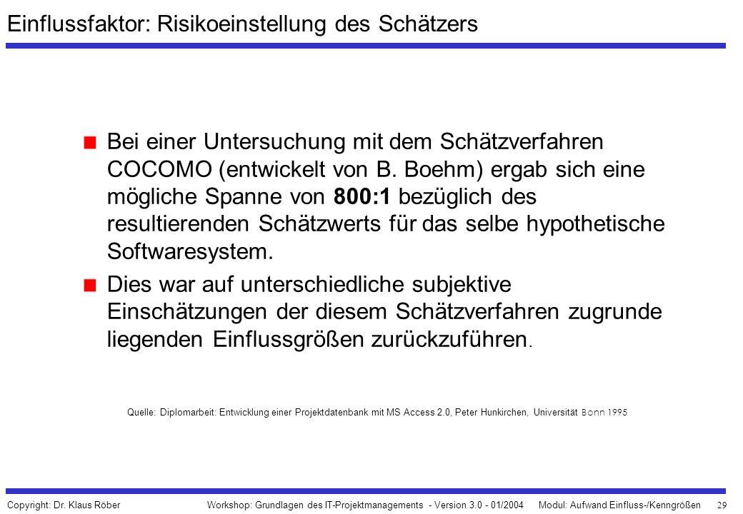 29 Workshop: Grundlagen des IT-Projektmanagements - Version 3.0 - 01/2004Modul: Aufwand Einfluss-/Kenngrößen Copyright: Dr. Klaus Röber Einflussfaktor