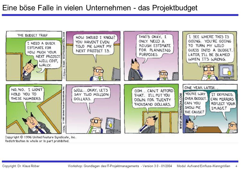 5 Workshop: Grundlagen des IT-Projektmanagements - Version 3.0 - 01/2004Modul: Aufwand Einfluss-/Kenngrößen Copyright: Dr.