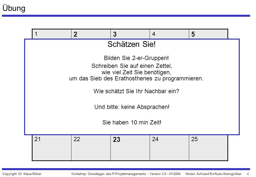 6 Workshop: Grundlagen des IT-Projektmanagements - Version 3.0 - 01/2004Modul: Aufwand Einfluss-/Kenngrößen Copyright: Dr. Klaus Röber Übung 1 23 4 5