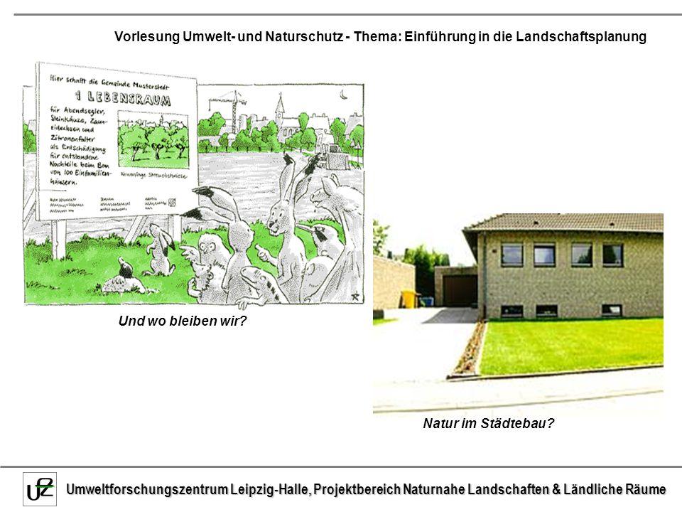 Umweltforschungszentrum Leipzig-Halle, Projektbereich Naturnahe Landschaften & Ländliche Räume Vorlesung Umwelt- und Naturschutz - Thema: Einführung in die Landschaftsplanung 9.