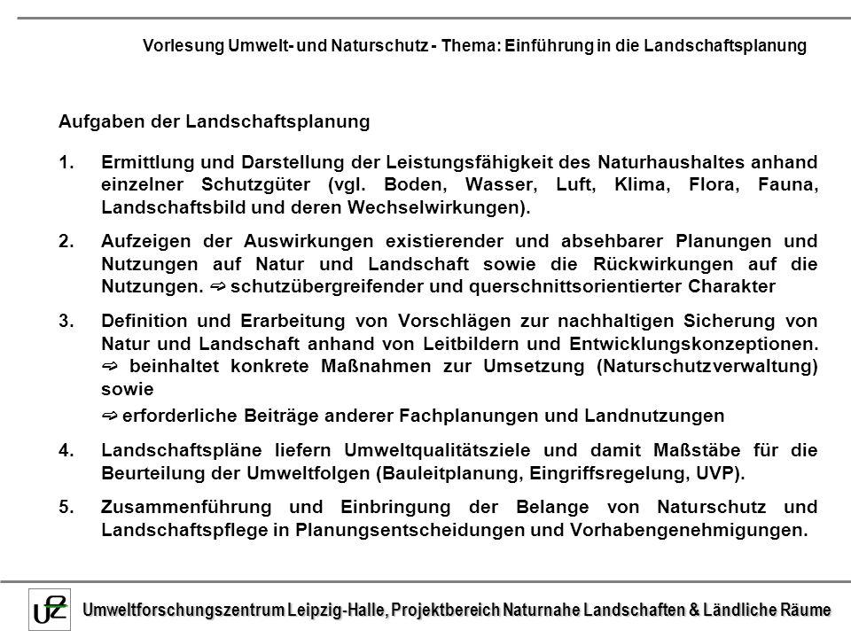 Umweltforschungszentrum Leipzig-Halle, Projektbereich Naturnahe Landschaften & Ländliche Räume Vorlesung Umwelt- und Naturschutz - Thema: Einführung in die Landschaftsplanung 2.