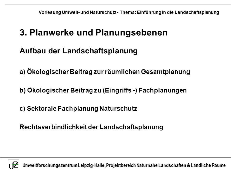 Umweltforschungszentrum Leipzig-Halle, Projektbereich Naturnahe Landschaften & Ländliche Räume Vorlesung Umwelt- und Naturschutz - Thema: Einführung in die Landschaftsplanung Begriffsdefinitionen zum Verständnis Umweltverträglichkeitsprüfung (UVP): die rechtlich normierte Bezeichnung für das gesamte unselbständige Verfahren, das Instrument der Umweltpolitik Umweltverträglichkeitsstudie (UVS): die nach § 6 UVPG beizubringenden Unterlagen Umweltverträglichkeitsuntersuchungen (UVU): die hierfür durchzuführenden Einzel- Erhebungen Vorhaben: Projekt, für das die UVP durchgeführt werden soll (Bundesstraße X von A nach B, Kläranlage Y, Kohlekraftwerk Z usw.) Vorhabenträger: Antragsteller, Projektbauherr Vorhabentyp: Klasse von Projekten, für die eine UVP gemacht werden muss (z.