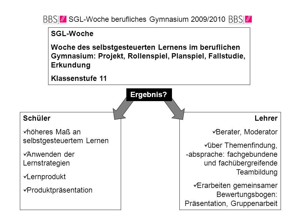 SGL-Woche berufliches Gymnasium 2009/2010 SGL-Woche Woche des selbstgesteuerten Lernens im beruflichen Gymnasium: Projekt, Rollenspiel, Planspiel, Fal
