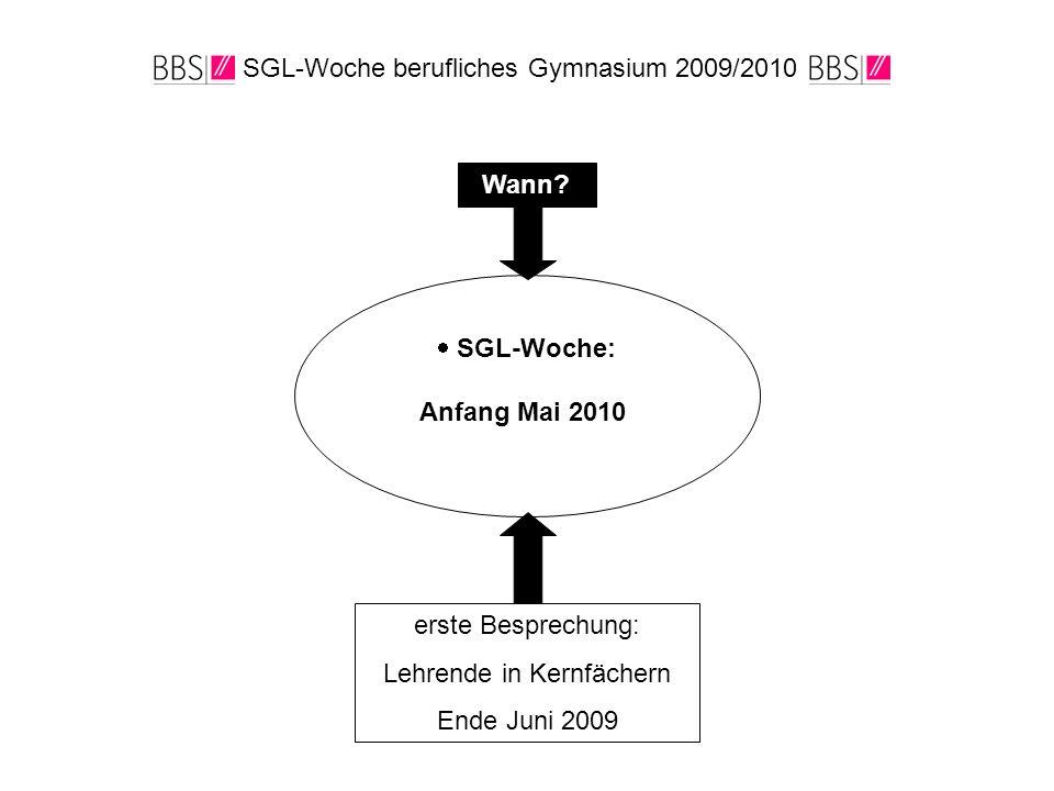 SGL-Woche berufliches Gymnasium 2009/2010 Wann?  SGL-Woche: Anfang Mai 2010 erste Besprechung: Lehrende in Kernfächern Ende Juni 2009