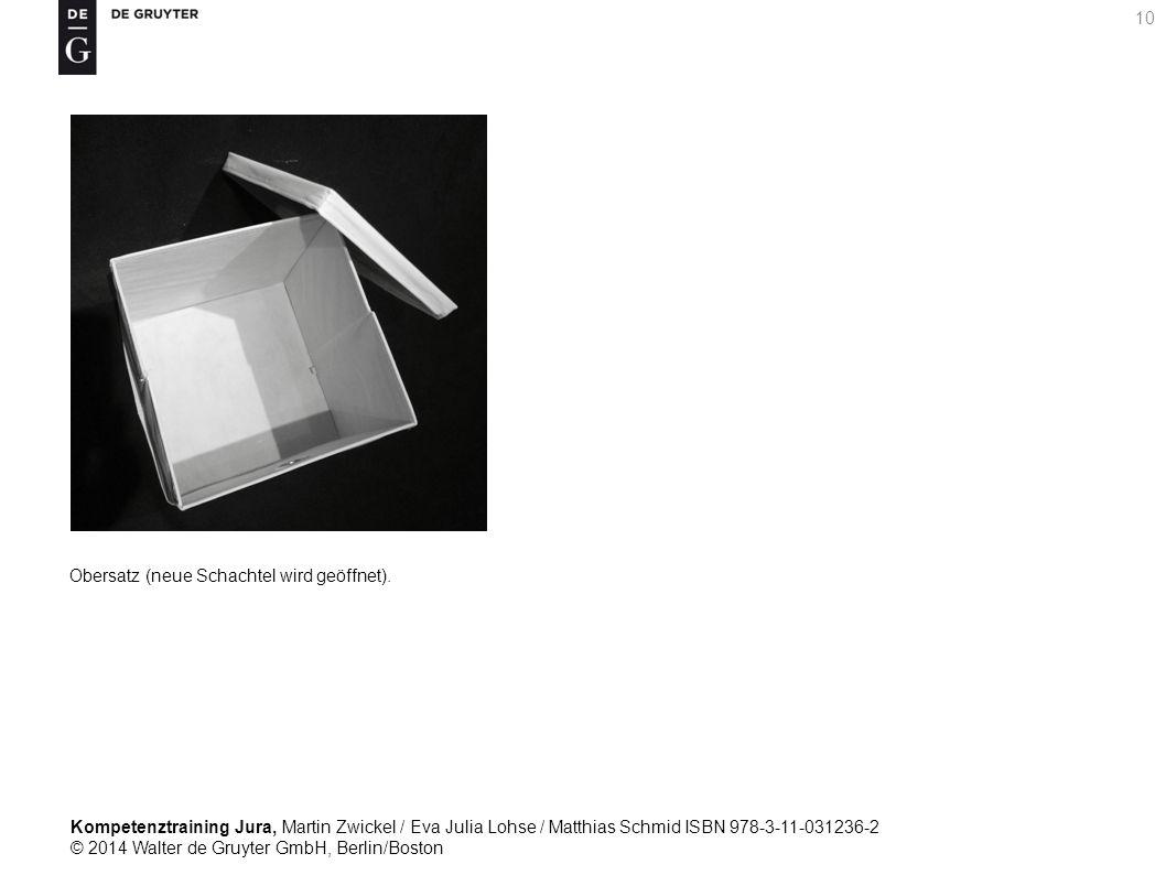 Kompetenztraining Jura, Martin Zwickel / Eva Julia Lohse / Matthias Schmid ISBN 978-3-11-031236-2 © 2014 Walter de Gruyter GmbH, Berlin/Boston 10 Obersatz (neue Schachtel wird geöffnet).