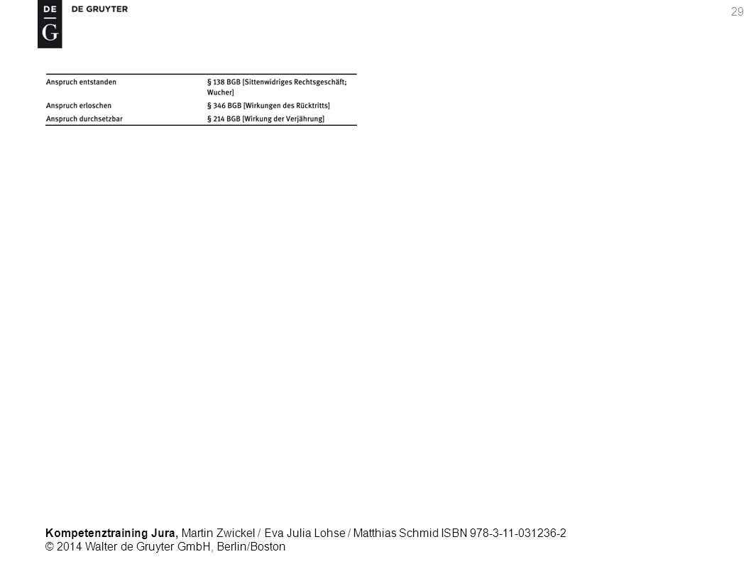 Kompetenztraining Jura, Martin Zwickel / Eva Julia Lohse / Matthias Schmid ISBN 978-3-11-031236-2 © 2014 Walter de Gruyter GmbH, Berlin/Boston 29