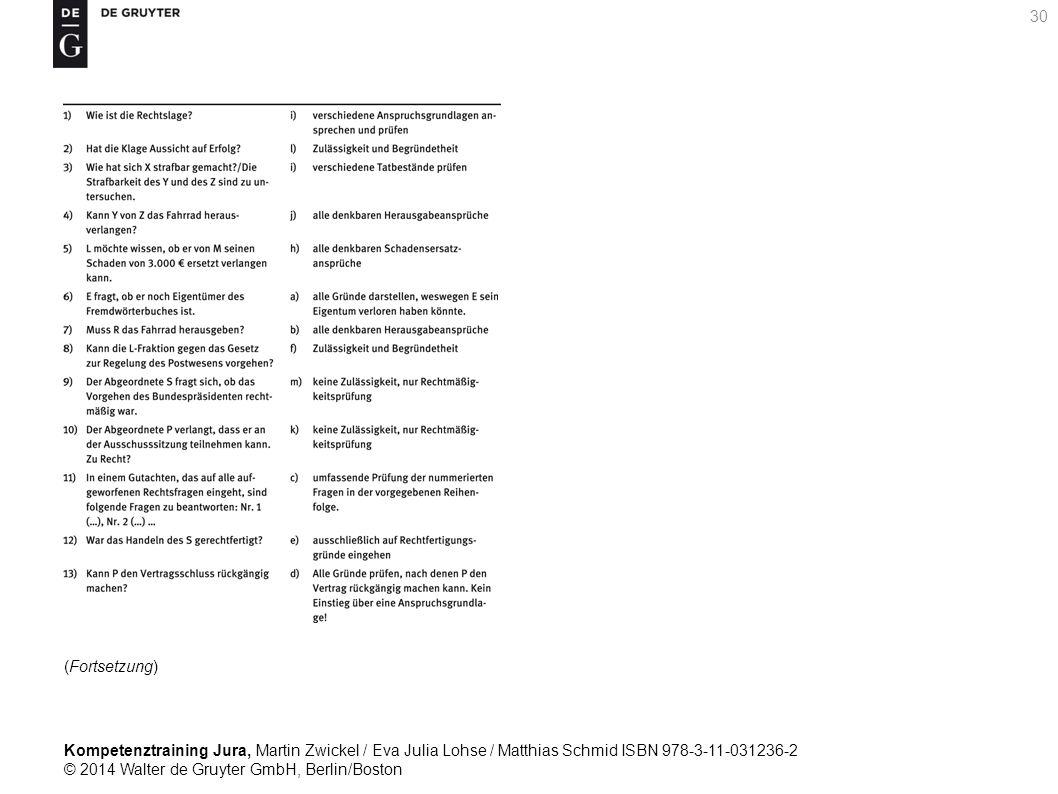 Kompetenztraining Jura, Martin Zwickel / Eva Julia Lohse / Matthias Schmid ISBN 978-3-11-031236-2 © 2014 Walter de Gruyter GmbH, Berlin/Boston 30 (Fortsetzung)