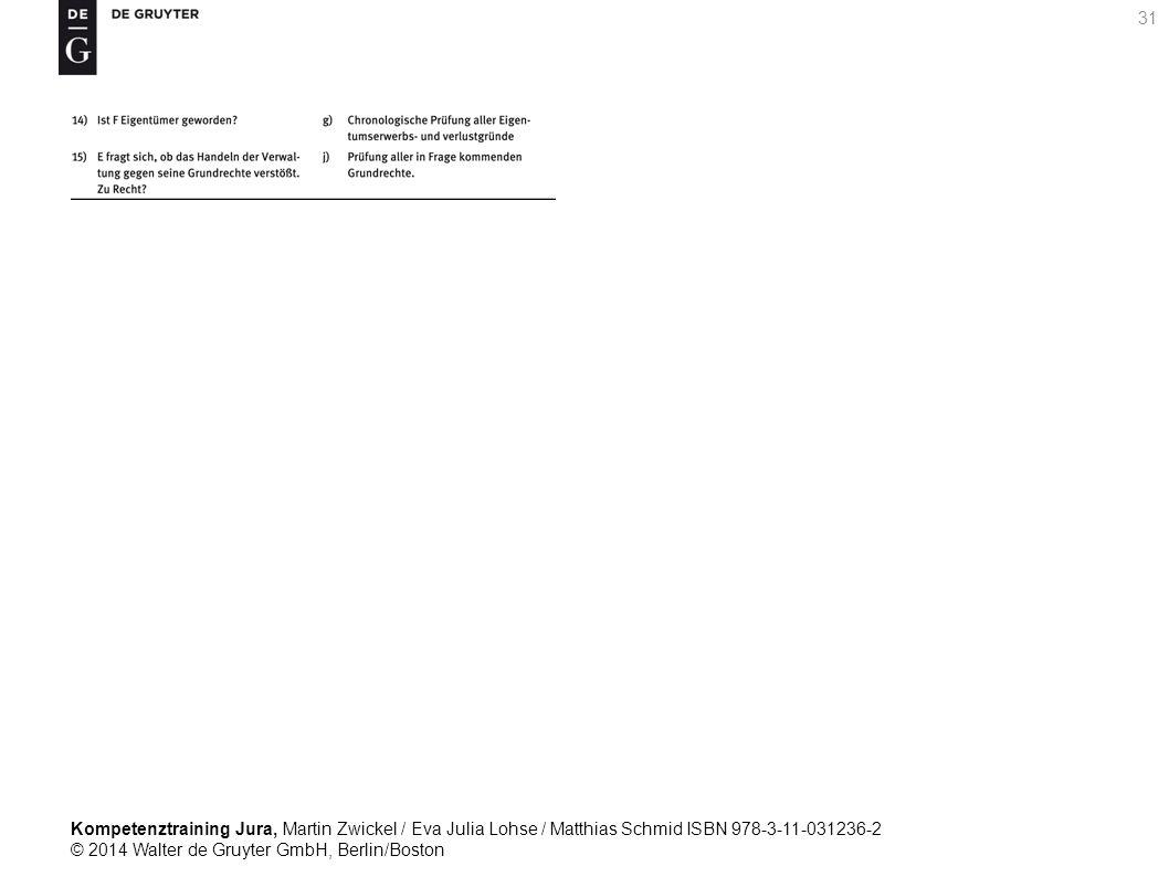 Kompetenztraining Jura, Martin Zwickel / Eva Julia Lohse / Matthias Schmid ISBN 978-3-11-031236-2 © 2014 Walter de Gruyter GmbH, Berlin/Boston 31