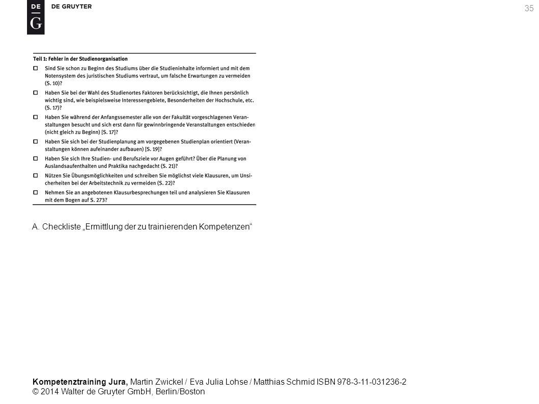 Kompetenztraining Jura, Martin Zwickel / Eva Julia Lohse / Matthias Schmid ISBN 978-3-11-031236-2 © 2014 Walter de Gruyter GmbH, Berlin/Boston 35 A.