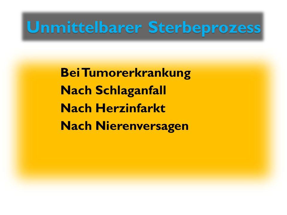 Unmittelbarer Sterbeprozess Unmittelbarer Sterbeprozess Bei Tumorerkrankung Nach Schlaganfall Nach Herzinfarkt Nach Nierenversagen