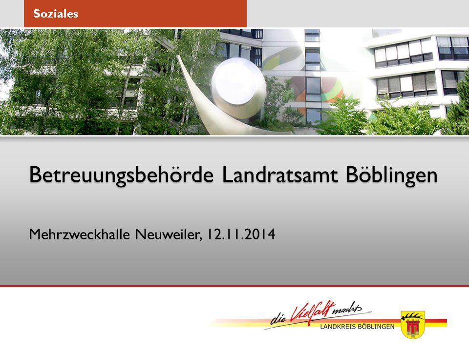 Betreuungsbehörde Landratsamt Böblingen Mehrzweckhalle Neuweiler, 12.11.2014 Soziales