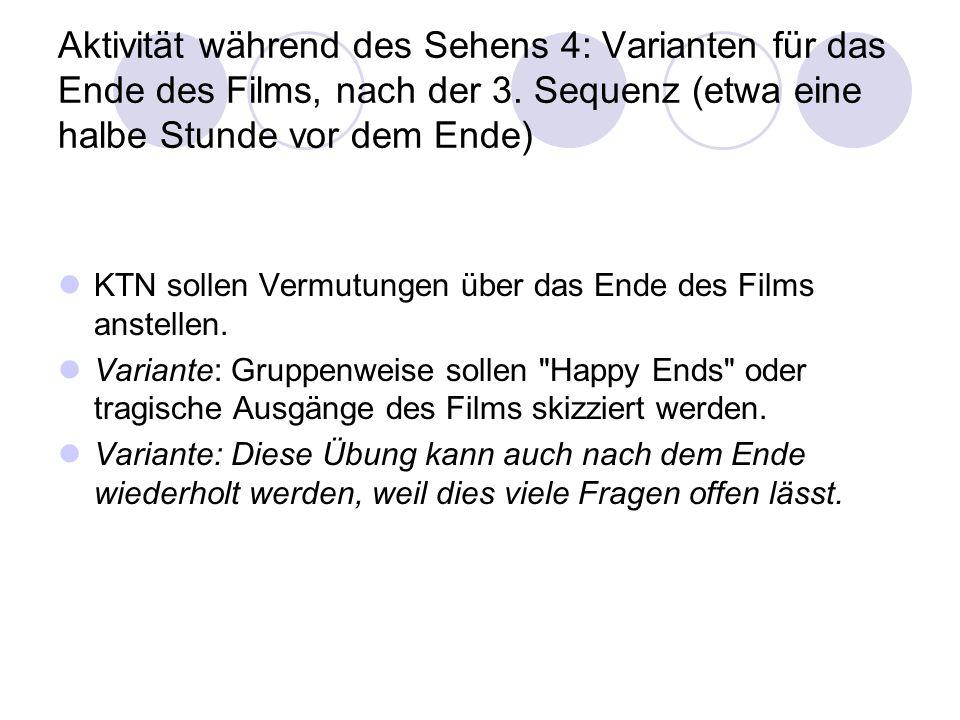 Aktivität während des Sehens 4: Varianten für das Ende des Films, nach der 3. Sequenz (etwa eine halbe Stunde vor dem Ende) KTN sollen Vermutungen übe