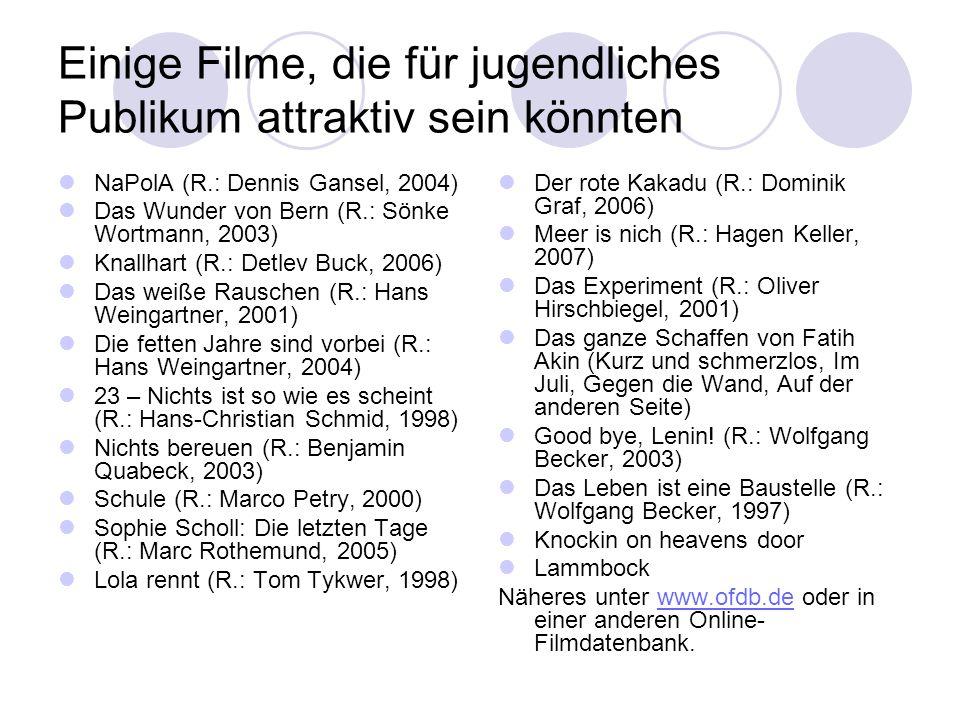 Einige Filme, die für jugendliches Publikum attraktiv sein könnten NaPolA (R.: Dennis Gansel, 2004) Das Wunder von Bern (R.: Sönke Wortmann, 2003) Kna