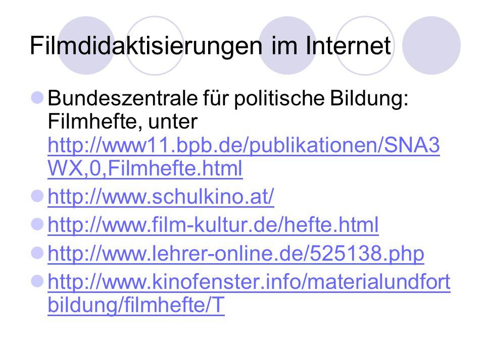 Filmdidaktisierungen im Internet Bundeszentrale für politische Bildung: Filmhefte, unter http://www11.bpb.de/publikationen/SNA3 WX,0,Filmhefte.html ht
