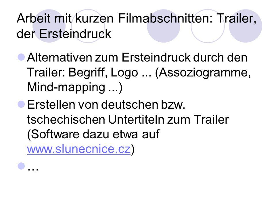 Arbeit mit kurzen Filmabschnitten: Trailer, der Ersteindruck Alternativen zum Ersteindruck durch den Trailer: Begriff, Logo... (Assoziogramme, Mind-ma