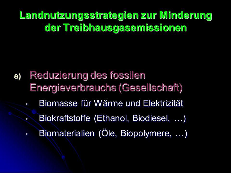 Landnutzungsstrategien zur Minderung der Treibhausgasemissionen a) Reduzierung des fossilen Energieverbrauchs (Gesellschaft) Biomasse für Wärme und El