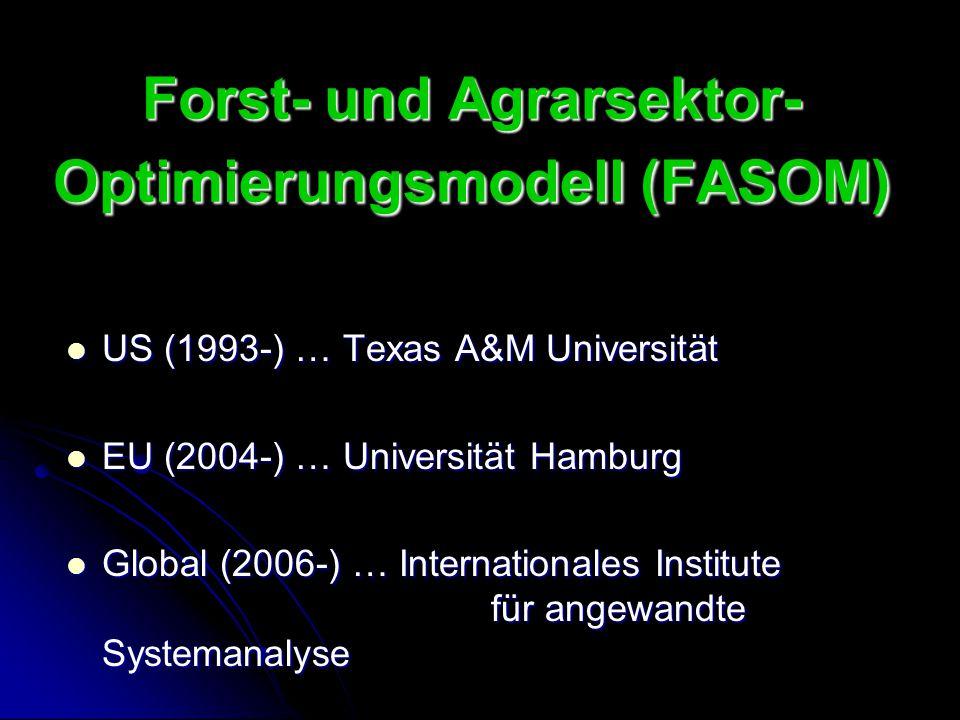 Forst- und Agrarsektor- Optimierungsmodell (FASOM) US (1993-) … Texas A&M Universität US (1993-) … Texas A&M Universität EU (2004-) … Universität Hamb