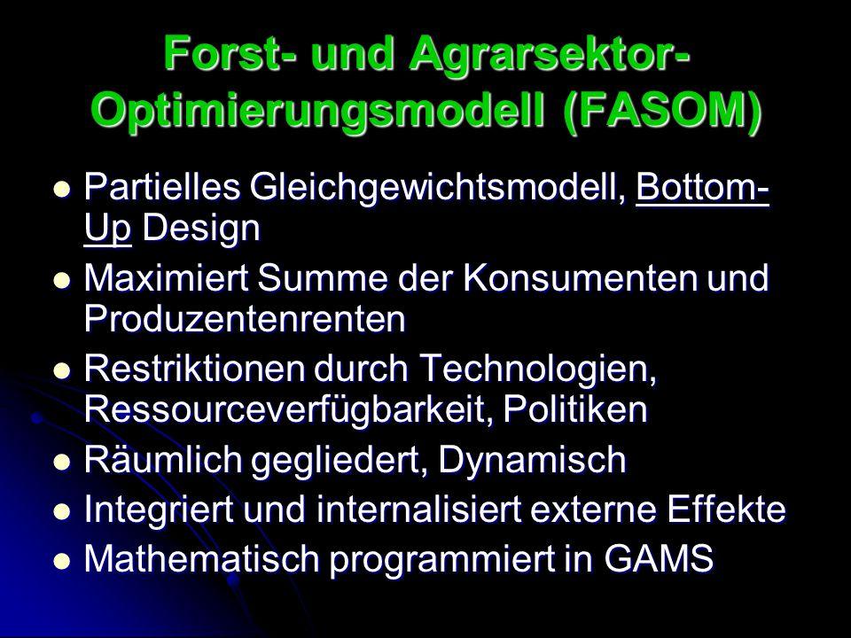 Forst- und Agrarsektor- Optimierungsmodell (FASOM) Partielles Gleichgewichtsmodell, Bottom- Up Design Partielles Gleichgewichtsmodell, Bottom- Up Desi
