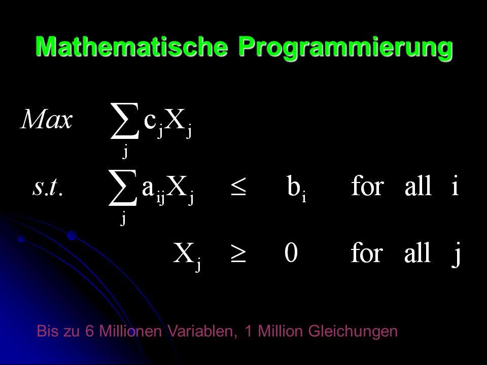 Mathematische Programmierung Bis zu 6 Millionen Variablen, 1 Million Gleichungen