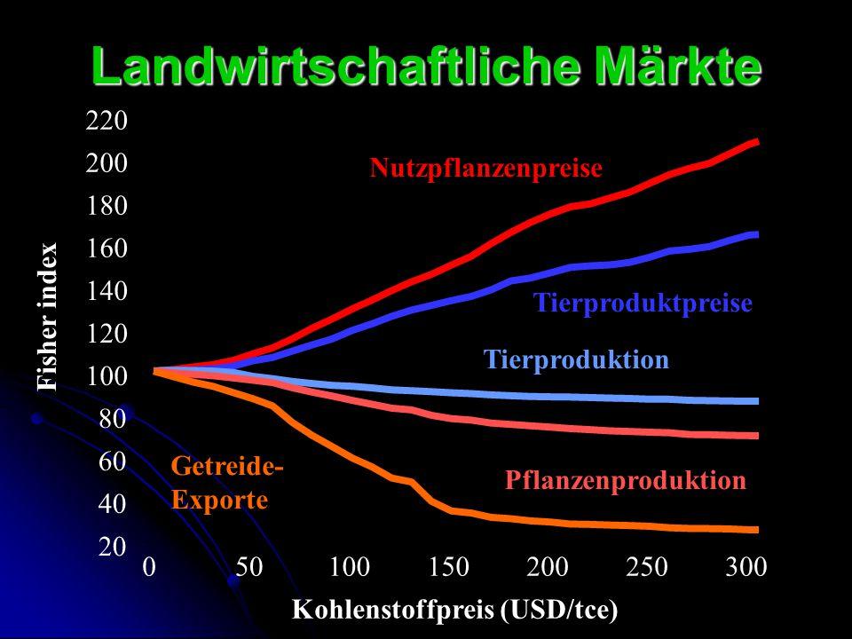 Landwirtschaftliche Märkte 20 40 60 80 100 120 140 160 180 200 220 050100150200250300 Fisher index Kohlenstoffpreis (USD/tce) Nutzpflanzenpreise Tierp