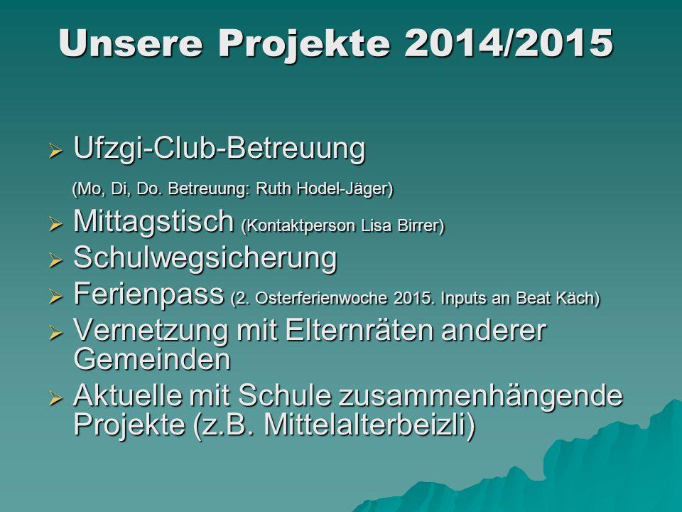  Ufzgi-Club-Betreuung (Mo, Di, Do. Betreuung: Ruth Hodel-Jäger) (Mo, Di, Do. Betreuung: Ruth Hodel-Jäger)  Mittagstisch (Kontaktperson Lisa Birrer)