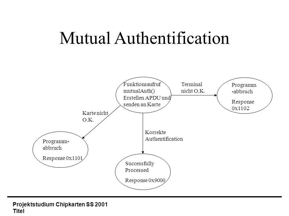 Projektstudium Chipkarten SS 2001 Titel Mutual Authentification Funktionsaufruf mutualAuth() Erstellen APDU und senden an Karte Terminal nicht O.K.