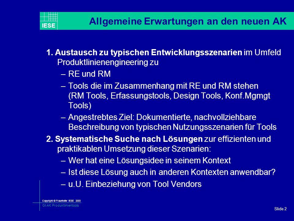 Copyright © Fraunhofer IESE 2003 GI AK Produktlinientools IESE Slide 2 Allgemeine Erwartungen an den neuen AK 1. Austausch zu typischen Entwicklungssz