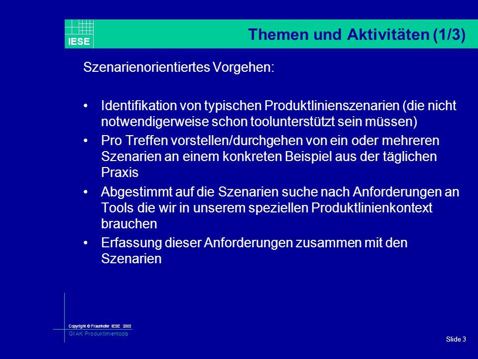 Copyright © Fraunhofer IESE 2003 GI AK Produktlinientools IESE Slide 3 Themen und Aktivitäten (1/3) Szenarienorientiertes Vorgehen: Identifikation von