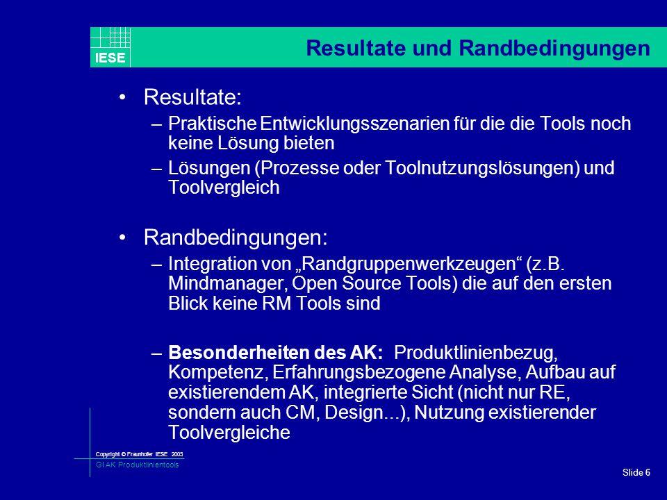 Copyright © Fraunhofer IESE 2003 GI AK Produktlinientools IESE Slide 6 Resultate und Randbedingungen Resultate: –Praktische Entwicklungsszenarien für