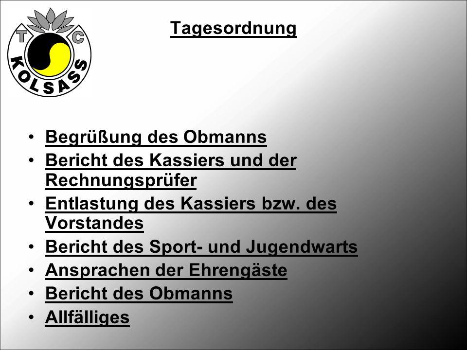 Tagesordnung Begrüßung des Obmanns Bericht des Kassiers und der Rechnungsprüfer Entlastung des Kassiers bzw.