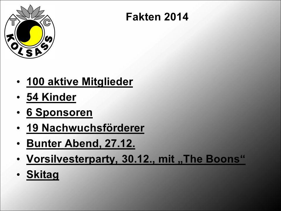 Fakten 2014 100 aktive Mitglieder 54 Kinder 6 Sponsoren 19 Nachwuchsförderer Bunter Abend, 27.12.