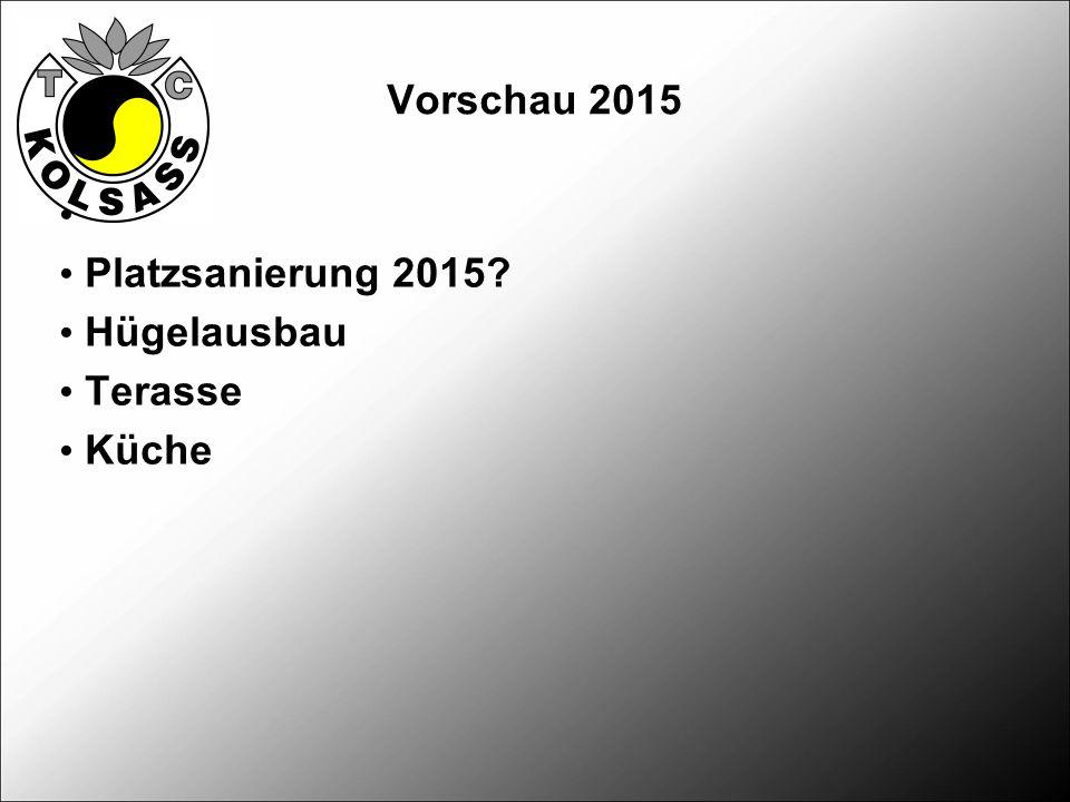 Vorschau 2015 Platzsanierung 2015? Hügelausbau Terasse Küche