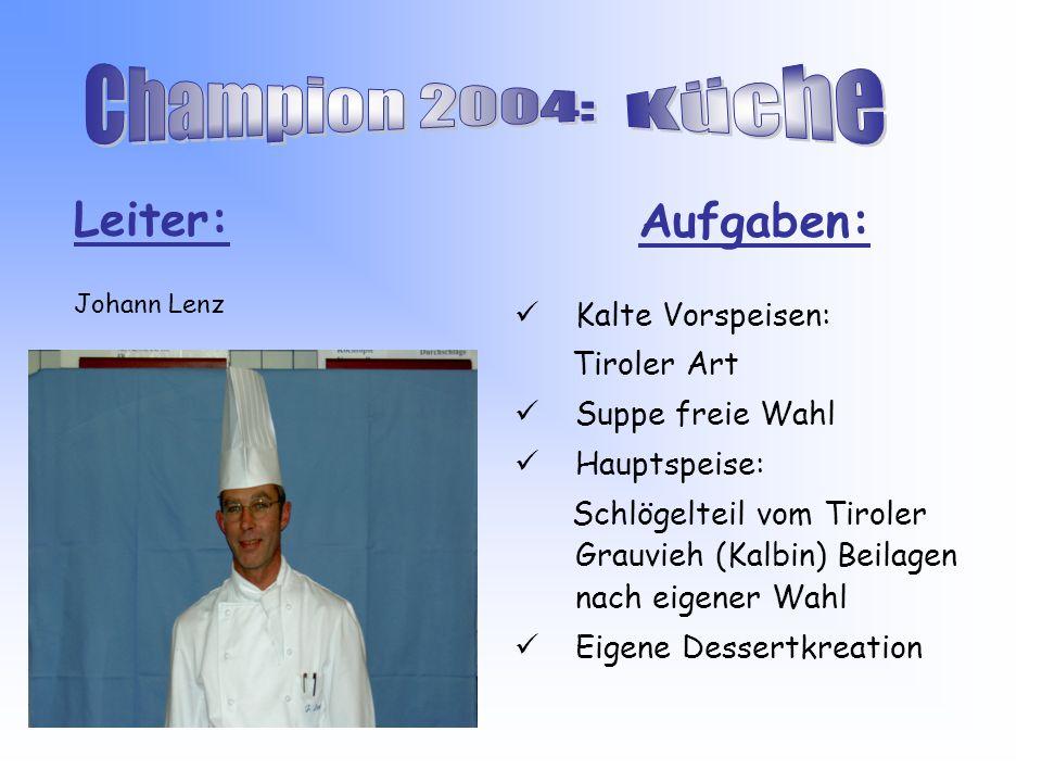 Aufgaben: Kalte Vorspeisen: Tiroler Art Suppe freie Wahl Hauptspeise: Schlögelteil vom Tiroler Grauvieh (Kalbin) Beilagen nach eigener Wahl Eigene Dessertkreation Leiter: Johann Lenz