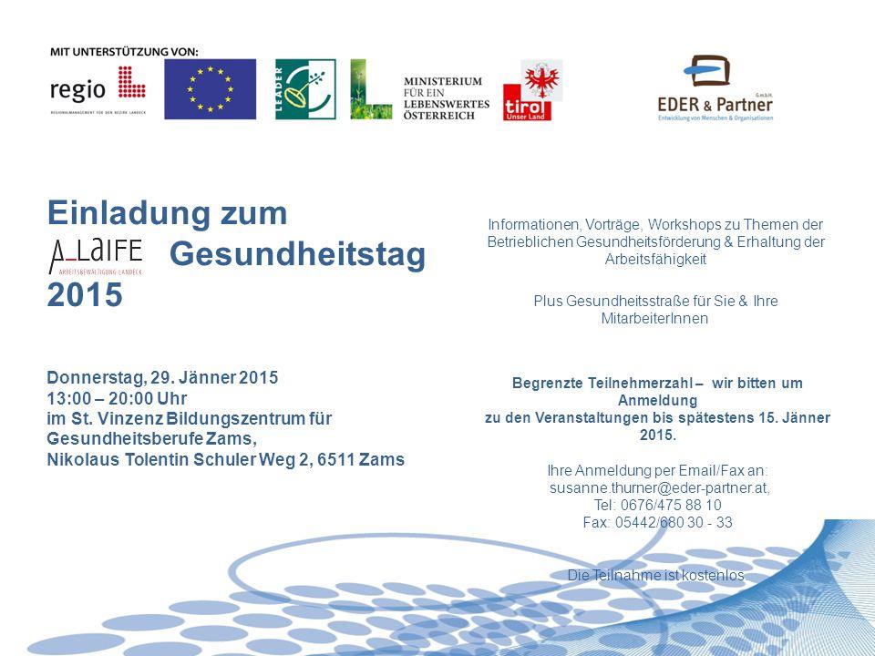 13:00 - 13:30 Dr.Albert Eder, Eder & Partner GmbHBegrüßung & Eröffnung 13:30 - 15:00 Mag.