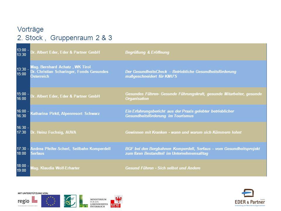 13:00 - 13:30 Dr. Albert Eder, Eder & Partner GmbHBegrüßung & Eröffnung 13:30 - 15:00 Mag. Bernhard Achatz, WK Tirol Dr. Christian Scharinger, Fonds G