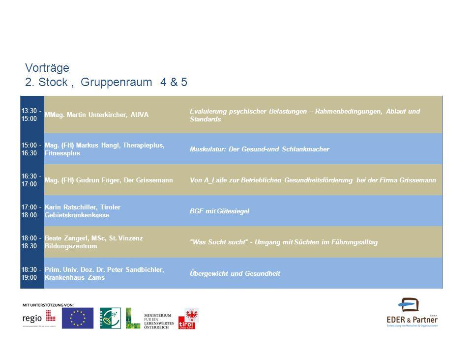 13:30 - 15:00 MMag. Martin Unterkircher, AUVA Evaluierung psychischer Belastungen – Rahmenbedingungen, Ablauf und Standards 15:00 - 16:30 Mag. (FH) Ma