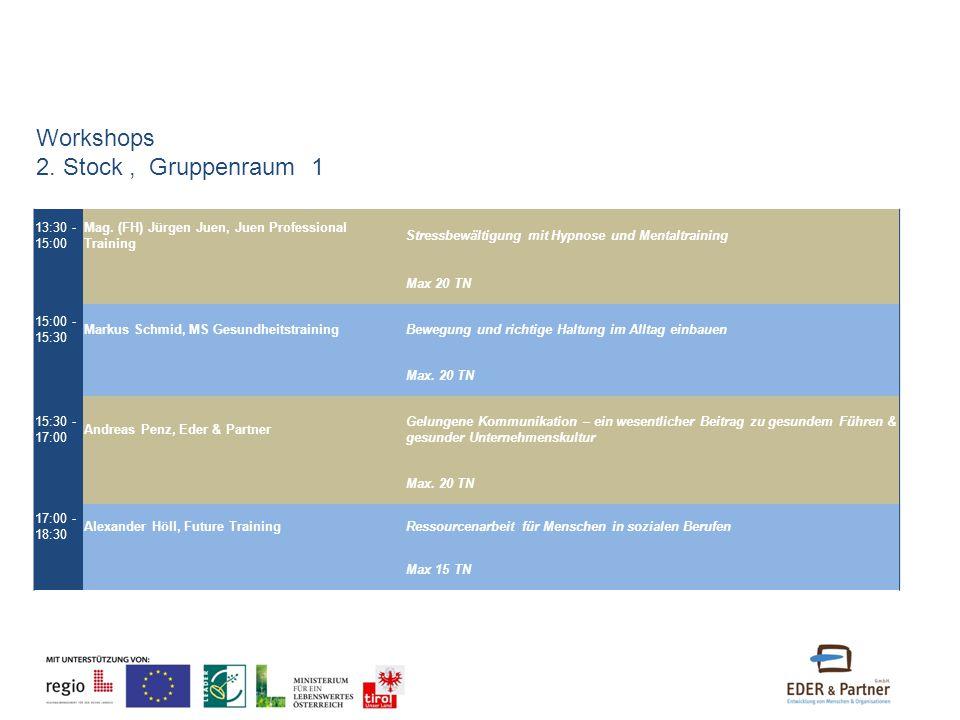 13:30 - 15:00 Mag. (FH) Jürgen Juen, Juen Professional Training Stressbewältigung mit Hypnose und Mentaltraining Max 20 TN 15:00 - 15:30 Markus Schmid