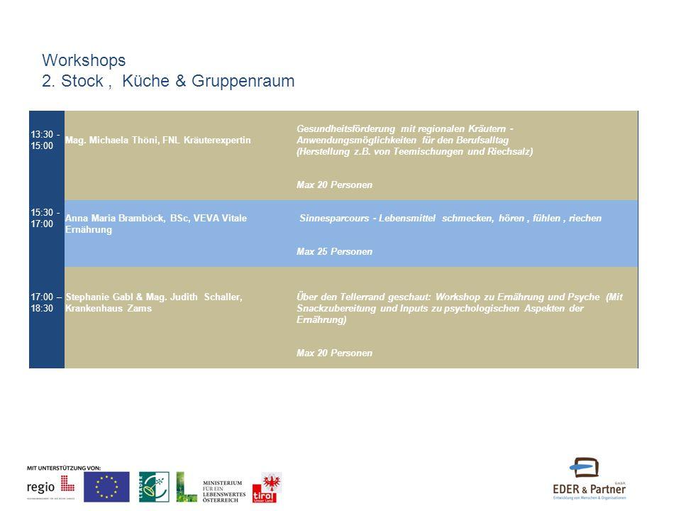 13:30 - 15:00 Mag. Michaela Thöni, FNL Kräuterexpertin Gesundheitsförderung mit regionalen Kräutern - Anwendungsmöglichkeiten für den Berufsalltag (He