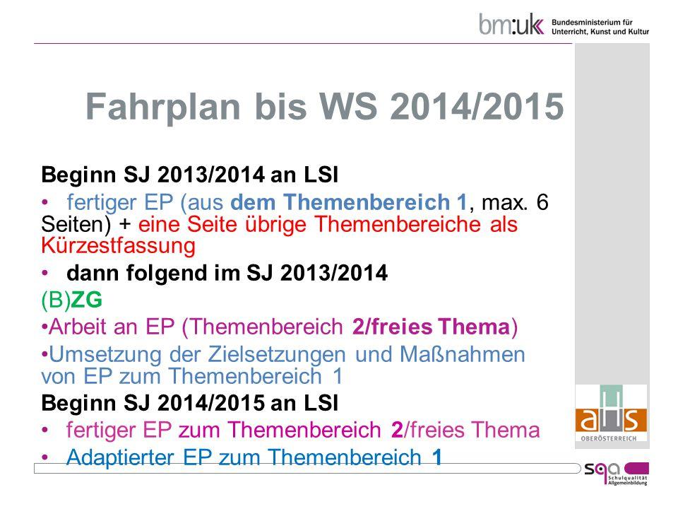 Fahrplan bis WS 2014/2015 Beginn SJ 2013/2014 an LSI fertiger EP (aus dem Themenbereich 1, max.