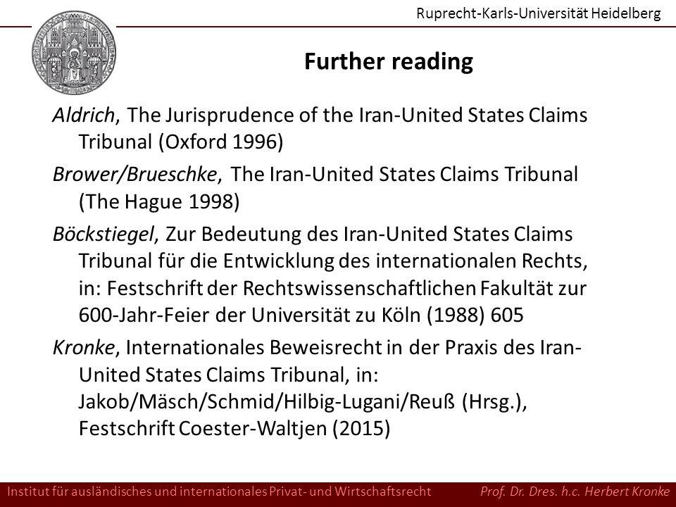 Ruprecht-Karls-Universität Heidelberg Institut für ausländisches und internationales Privat- und WirtschaftsrechtProf.