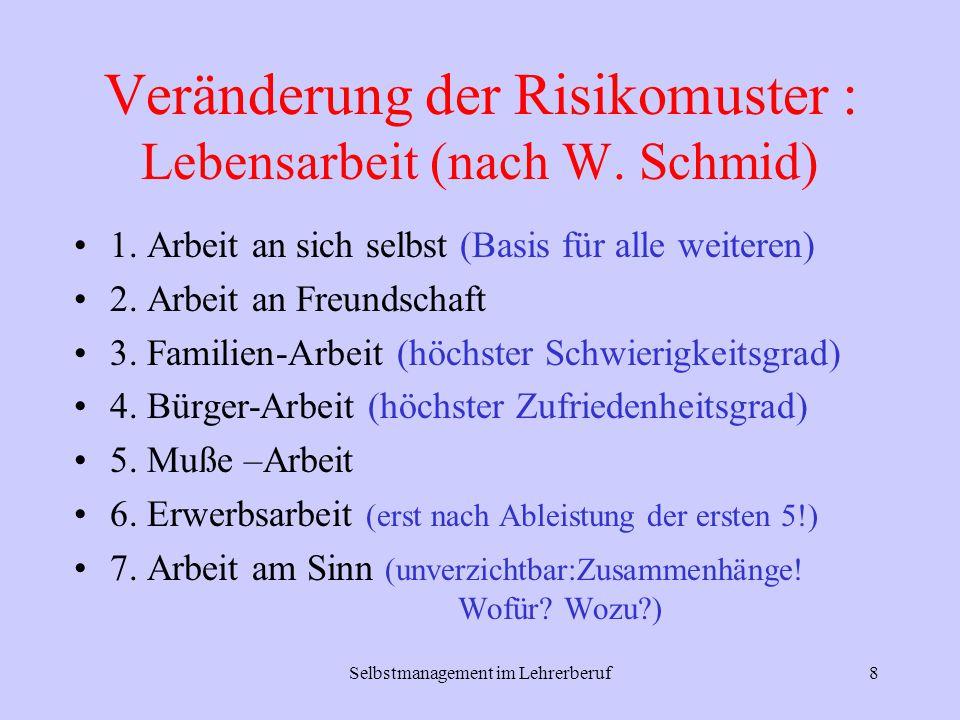 Selbstmanagement im Lehrerberuf8 Veränderung der Risikomuster : Lebensarbeit (nach W. Schmid) 1. Arbeit an sich selbst (Basis für alle weiteren) 2. Ar