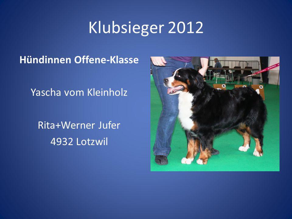 Klubsieger 2012 Hündinnen Offene-Klasse Yascha vom Kleinholz Rita+Werner Jufer 4932 Lotzwil