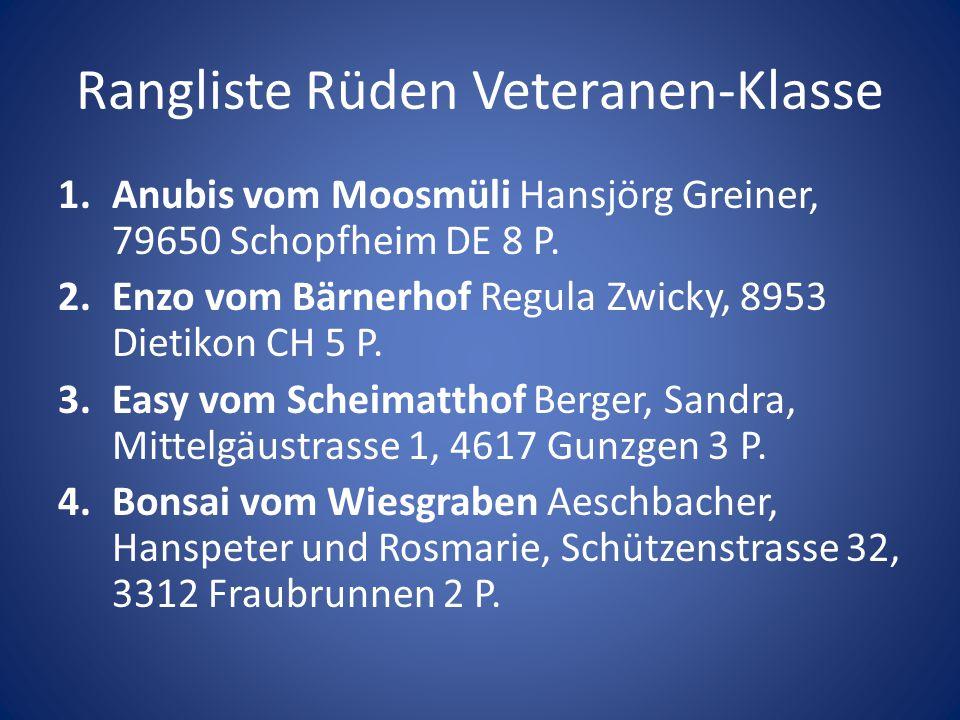 Rangliste Rüden Veteranen-Klasse 1.Anubis vom Moosmüli Hansjörg Greiner, 79650 Schopfheim DE 8 P. 2.Enzo vom Bärnerhof Regula Zwicky, 8953 Dietikon CH