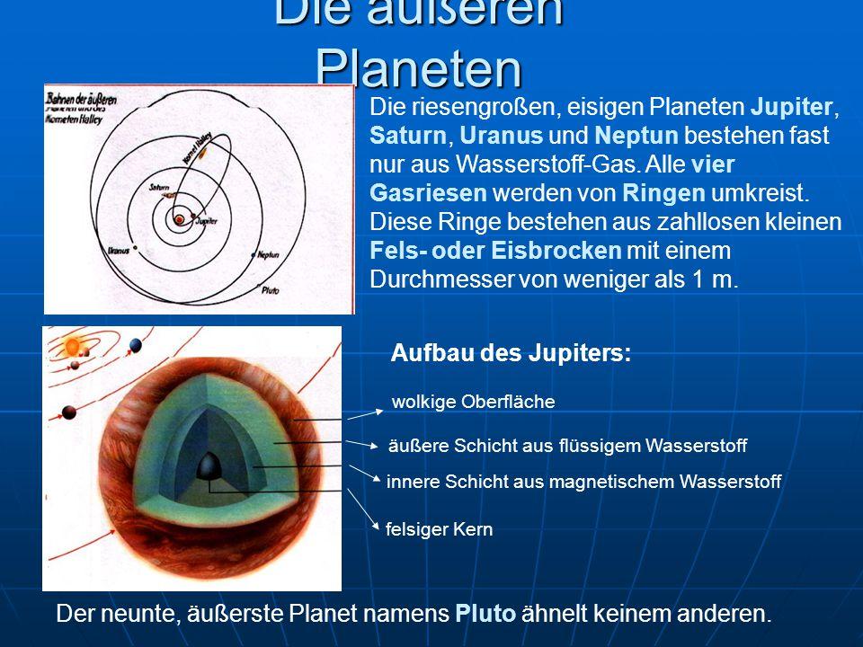 Die äußeren Planeten Die riesengroßen, eisigen Planeten Jupiter, Saturn, Uranus und Neptun bestehen fast nur aus Wasserstoff-Gas. Alle vier Gasriesen