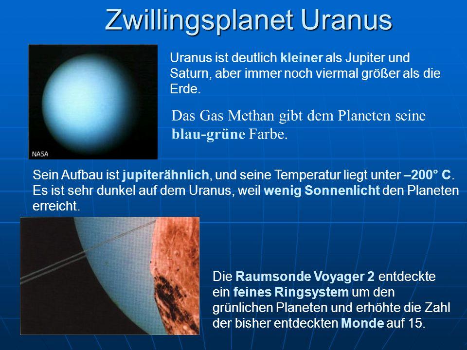 Zwillingsplanet Uranus Uranus ist deutlich kleiner als Jupiter und Saturn, aber immer noch viermal größer als die Erde. Das Gas Methan gibt dem Planet