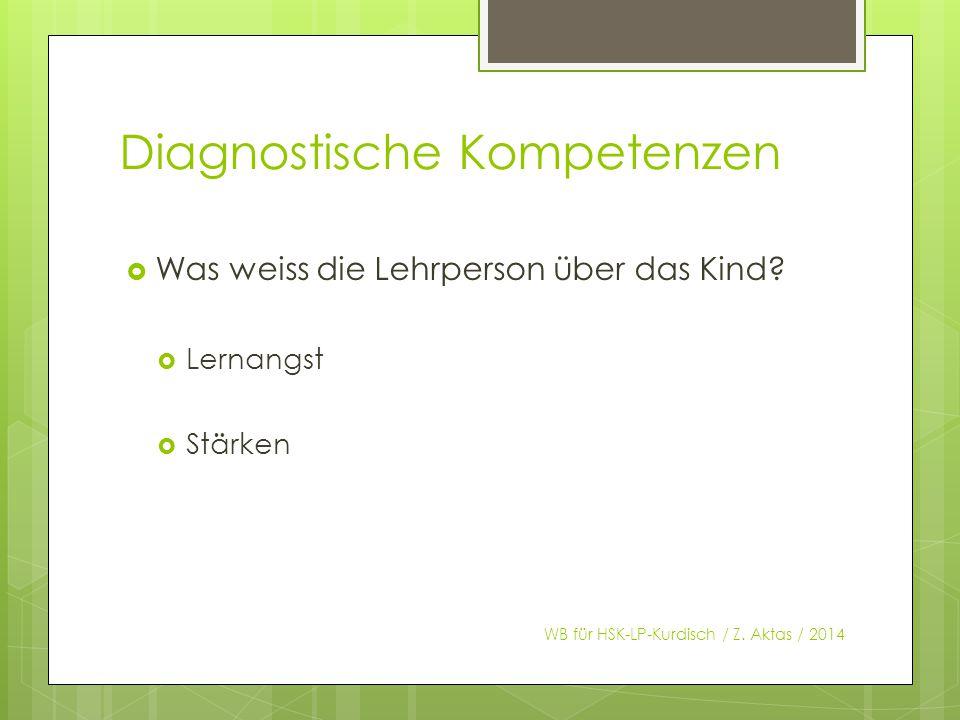 Diagnostische Kompetenzen  Was weiss die Lehrperson über das Kind.