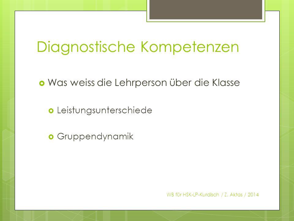 Diagnostische Kompetenzen  Was weiss die Lehrperson über die Klasse  Leistungsunterschiede  Gruppendynamik WB für HSK-LP-Kurdisch / Z.