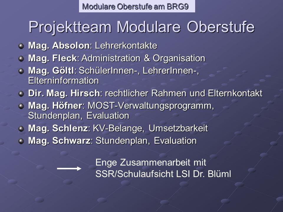 Modulare Oberstufe am BRG9 Was macht das Projektteam.