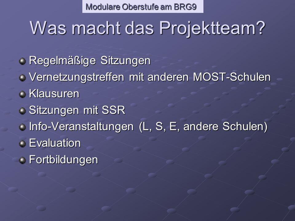 Modulare Oberstufe am BRG9 Informationsmöglichkeiten für Eltern und SchülerInnen Informationsveranstaltungen - Most-Antrag - Kursbuch - HP - Projektteam - Beratung in der 4./5.